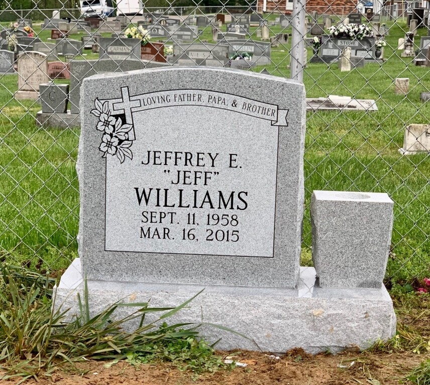 Headstone for Jeff Williams