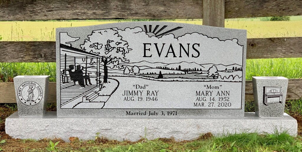 Headstone for Jimmy and Mary Evans