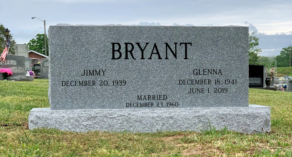 Headstone for Jimmy and Glenna Bryant