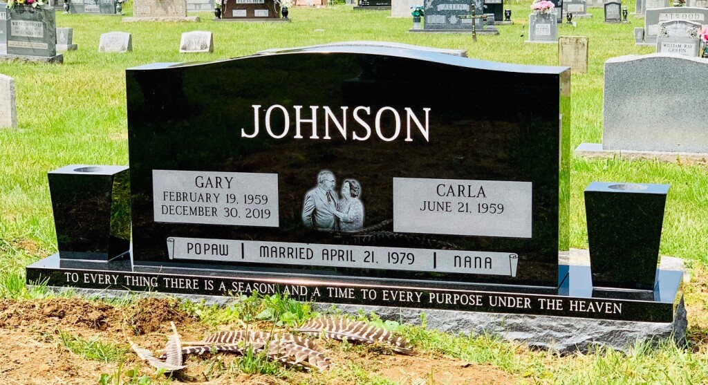 Headstone for Gary and Carla Johnson