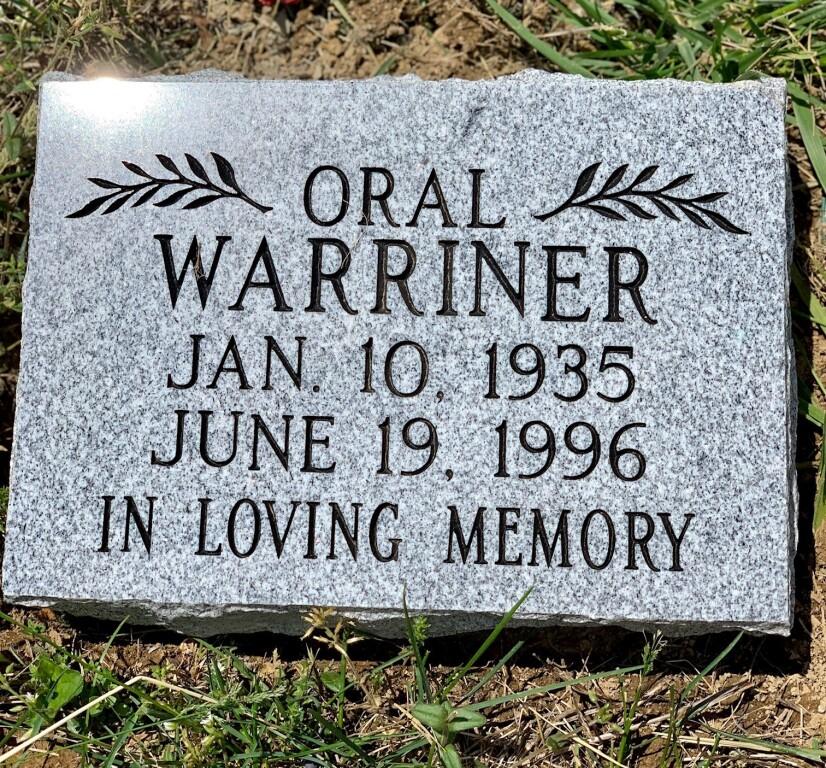 8x12 Flat marker for Oral Warriner