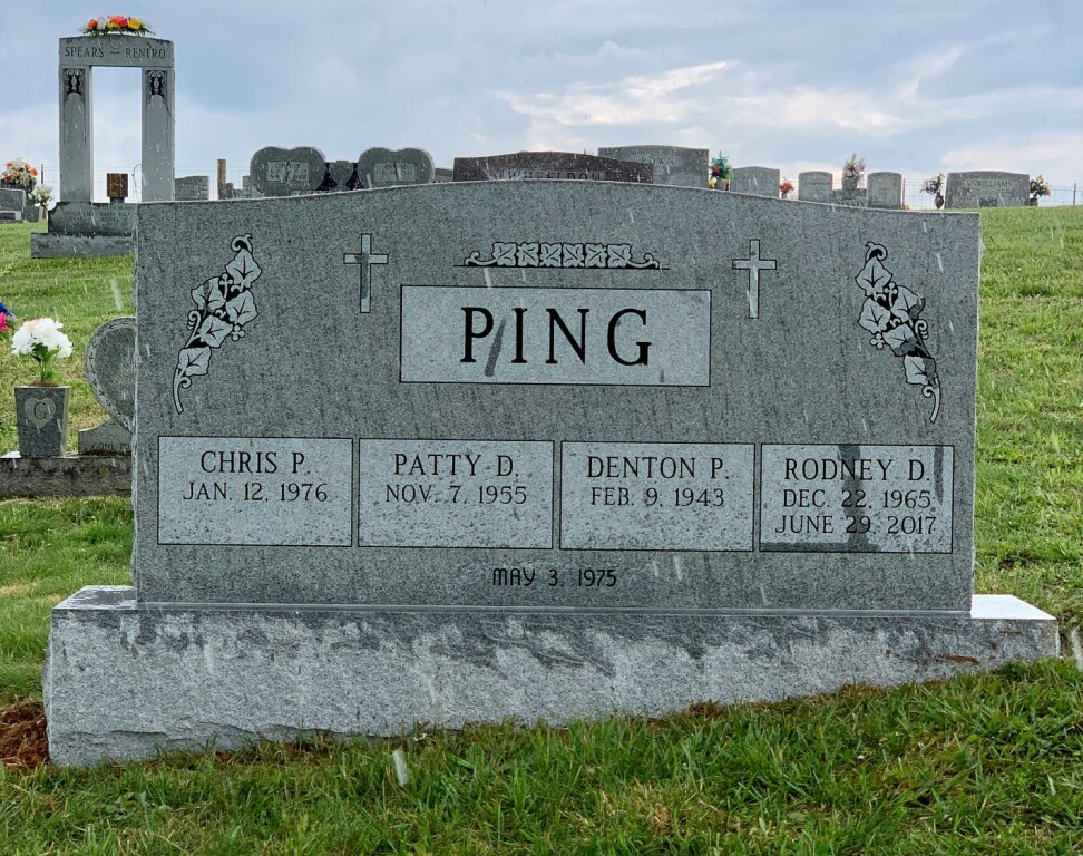 Quadruple headstone for the Ping family