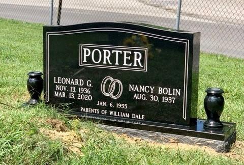 Headstone for Leonard and Nancy Porter