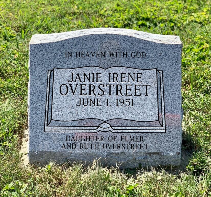 Slant marker for Janie Overstreet