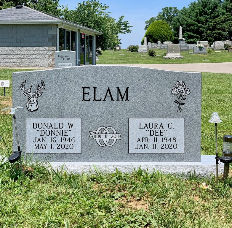 Headstone for Donald and Laura Elam