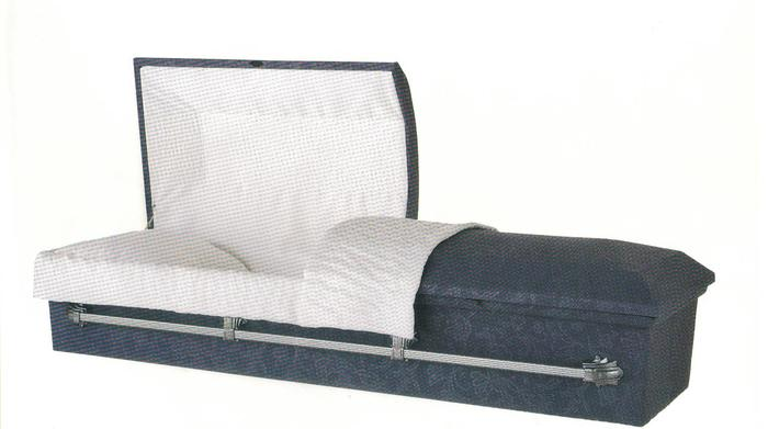 Cloth covered casket  142