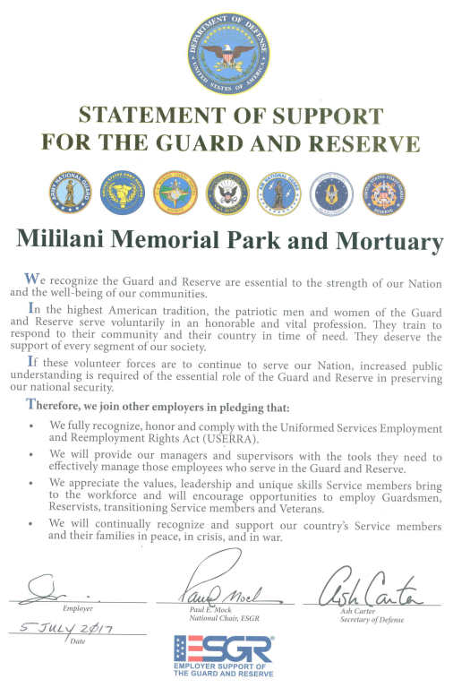Statement of Support for the Guard and Reserve