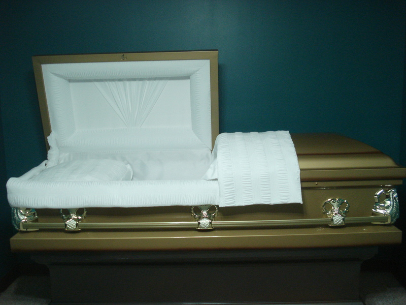 Gold  Detailed Gold Trim Casket