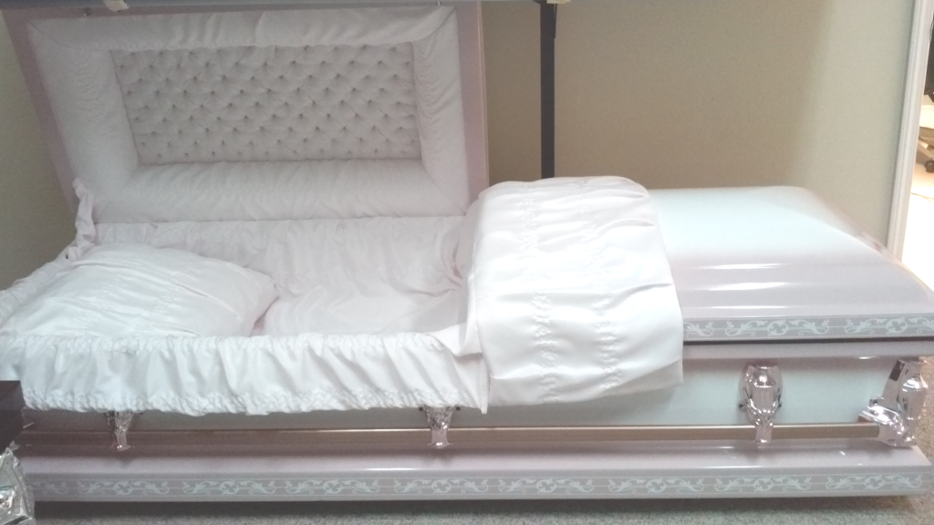 White/Dark Pink Two Tone White Emboss Casket