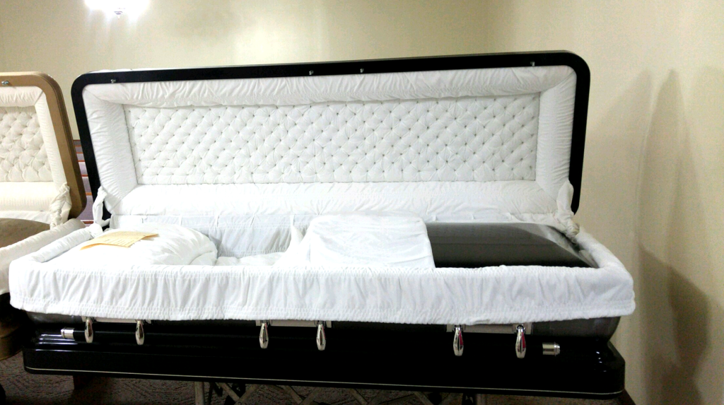 Ebony/Silver Brush Full Couch Casket