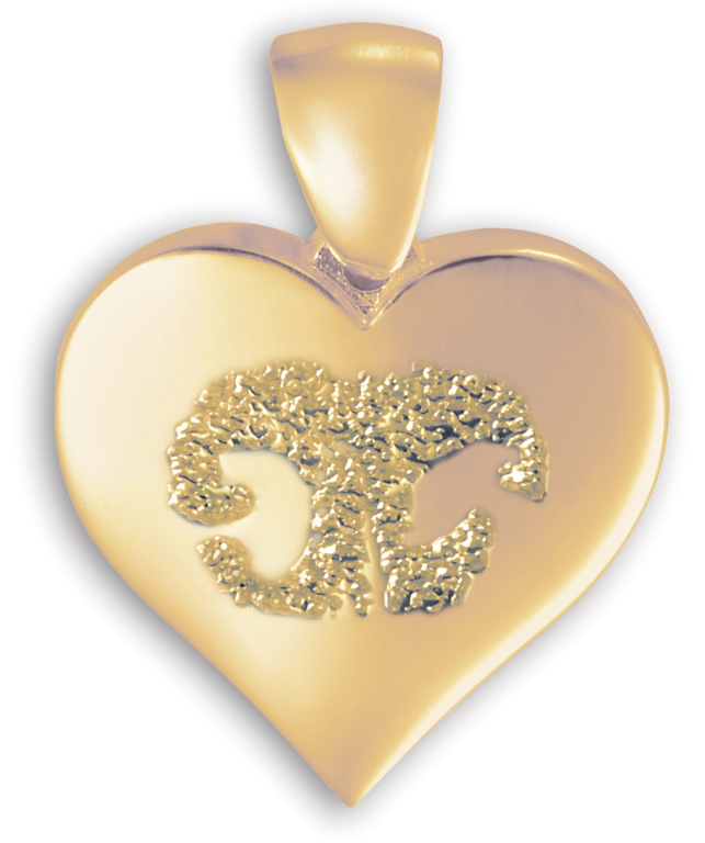 Single Heart Gold with Nose Print