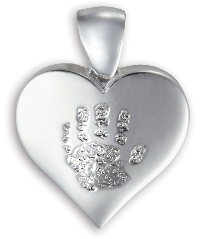 Single Heart Pendant with Handprint