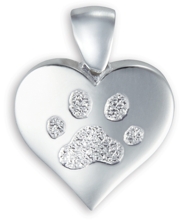 Single Heart Pendant with Paw Print