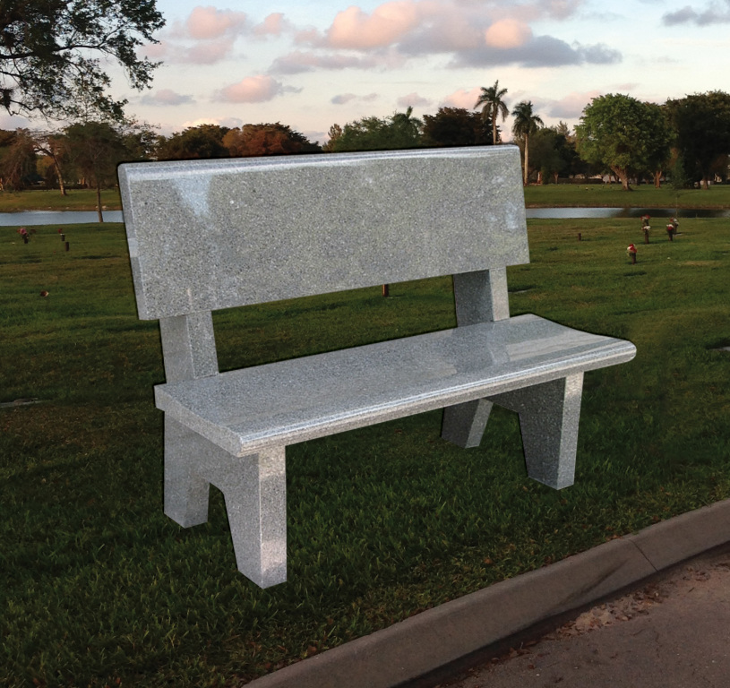 Cemetery bench with back