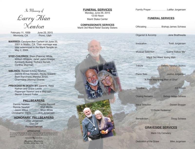 Funeral Program Samples | Magleby Mortuary | Richfield UT