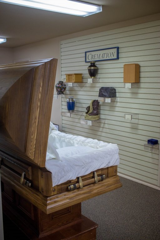 Our product show room has everything from urns to caskets, and a wide variety to choose from.