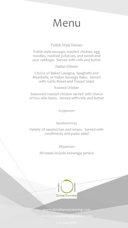 Dine Thyme Catering Menu