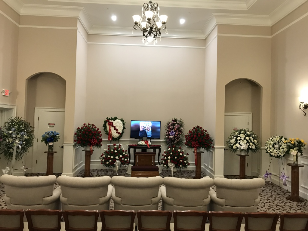Memorial service with photo memorial tribute made by Pleasant Manor