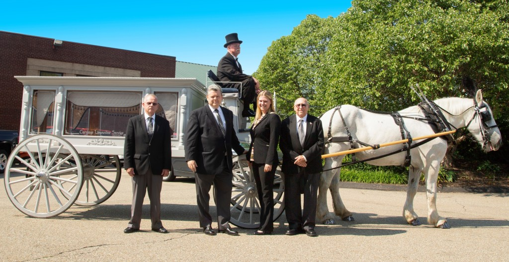 Our Staff with Horse Drawn Hearse