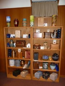 Our merchandise selection room also houses a large assortment of urns and cremation associated merchandise made from wood, pottery, metal, stone and cultured stone, with prices ranging from 36.00 to 335.00. Additional items are available by special order from catalogs.