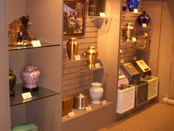 We offer a wide selection of urns and urn vaults for cremation clients.