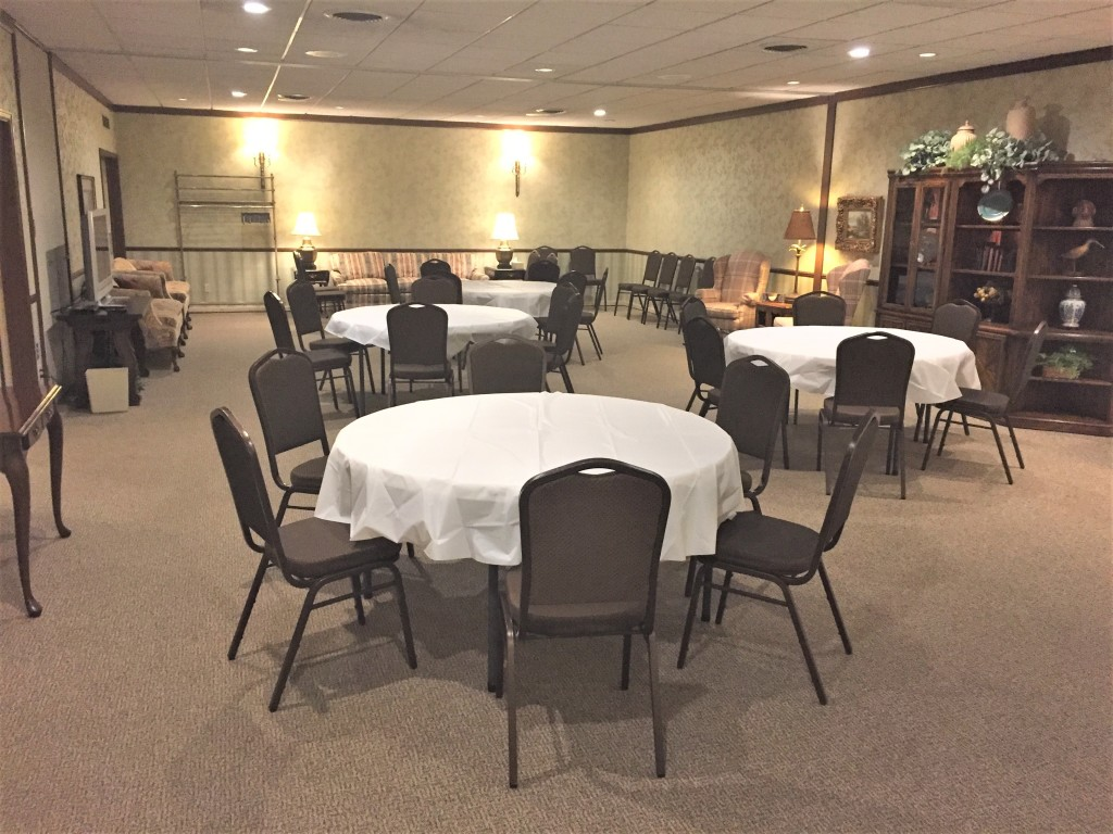 Multi-purpose room shown for small luncheon