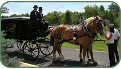 Pictured here are Funeral Director Craig Rotruck top right and owners of Sunshine Acres Carriage Service with their Belgian Draft Horses.