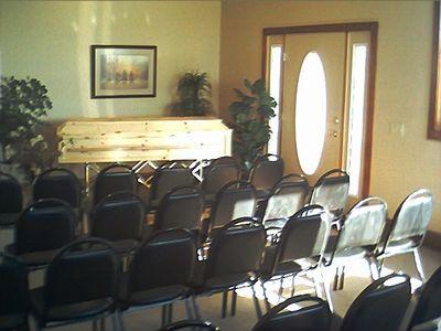 Made in Montana Western Pine Casket in chapel