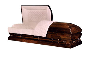 Kingston Premium hardwood, Walnut with natural walnut satin finish and full tufted dawn velvet interior. Non-gasketed Casket.