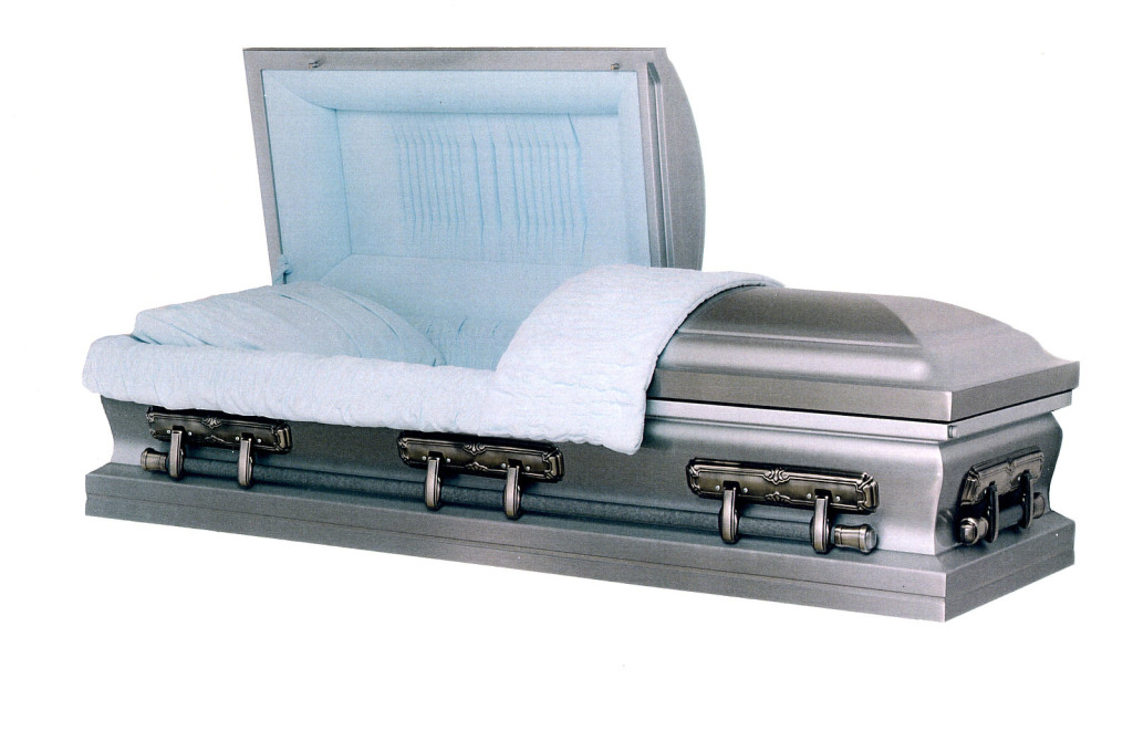 Stainless II. Premium stainless steel, natural brushed finish, large and small pipes OR American Flag, blue velvet. Gasketed casket.