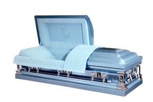 Silver Premium stainless, silver brushed finish, ivory velvet interior. Gasketed casket.