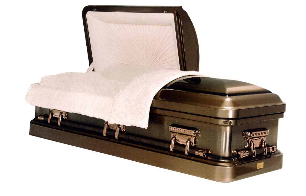 Innisbrook Heavy weight steel. Bronze blended brush finish, sunburst beige velvet interior. Gasketed casket.