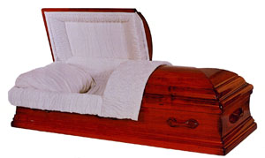 Benton Solid hardwood, maple, amber satin finish, sand velvet interior, large or small pipe OR American Flag. Non-gasketed casket.