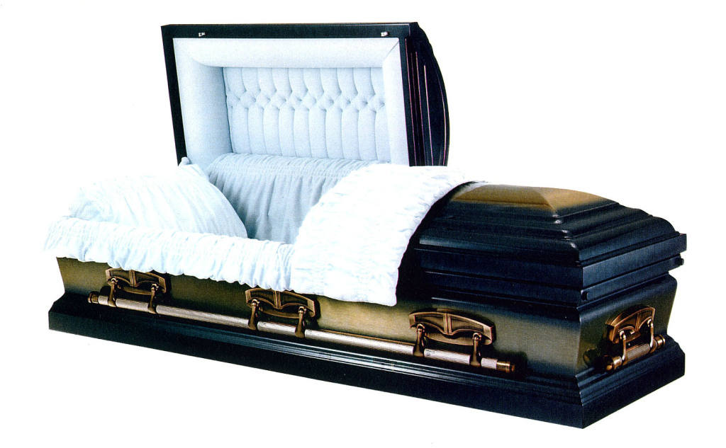 Kensington Medium weight steel in blue brushed gold with offset tufted blue velvet. Gasketed casket.