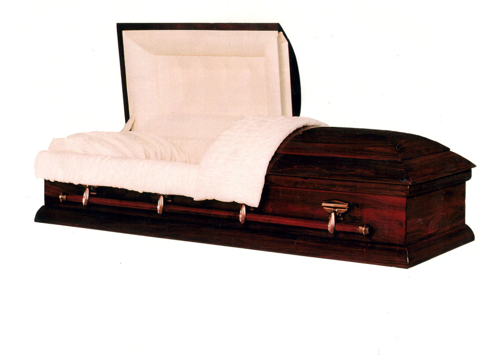 Weston Solid hardwood, poplar auburn red gloss finish with rosetan crepe. Non-gasketed casket.