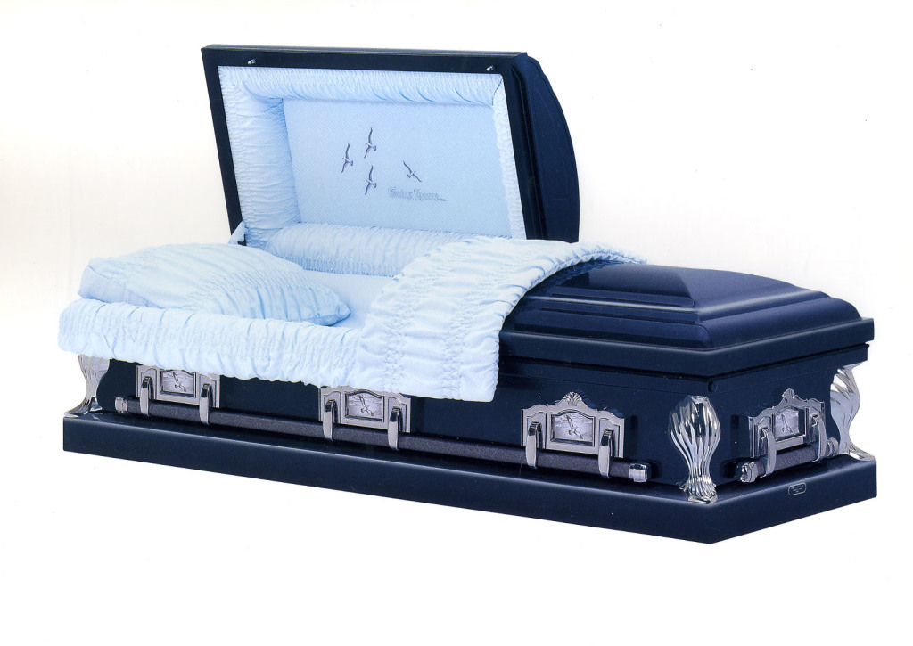 Homecoming Medium weight steel in metallic blue shaded silver, blue crepe with Going Home panel OR Bronze shaded gold, rosetan crepe with Going Home panel OR white shaded orchid in pink crepe with Going Home panel Gasketed casket.