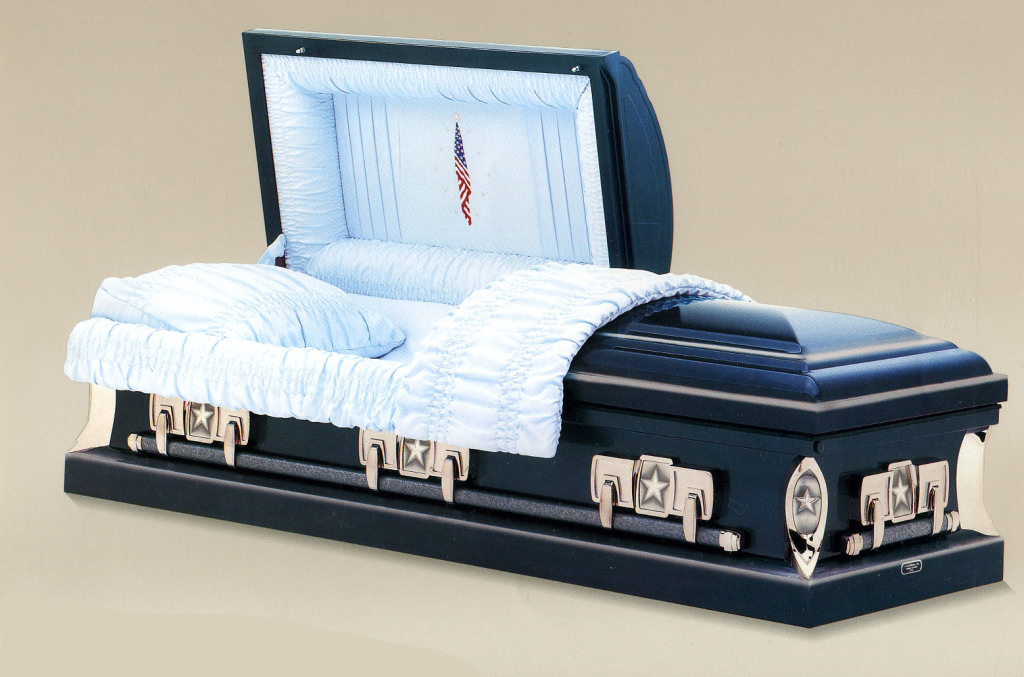 Patriot Medium weight steel in metallic blue shaded silver in blue crepe with American Flag. Gasketed casket.