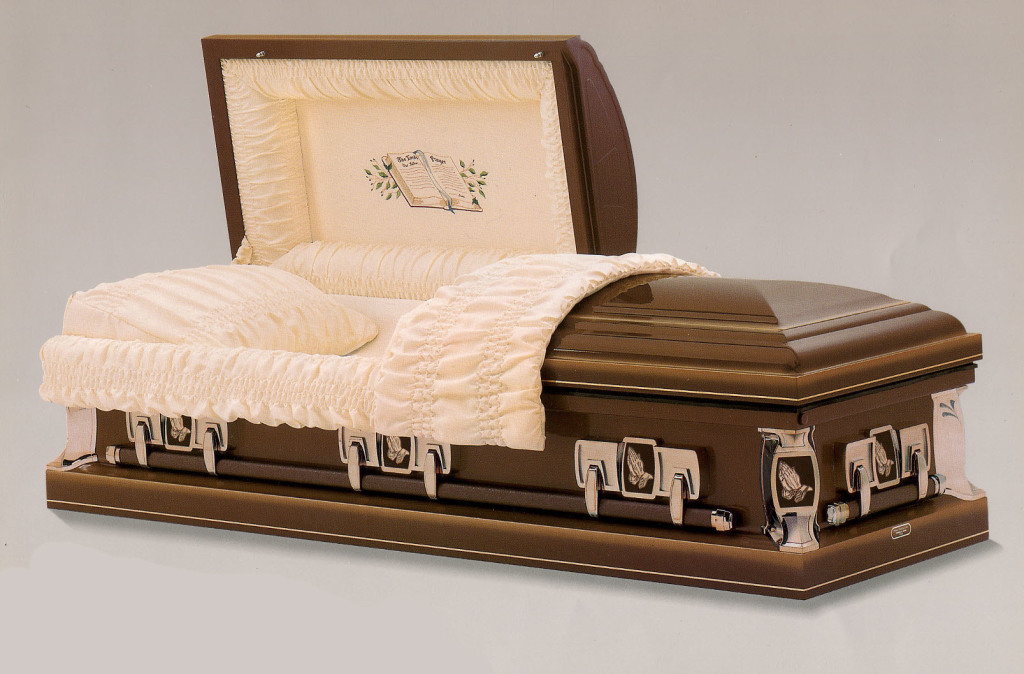 Lord's Prayer Medium weight steel in Hawthorne bronze shaded gold with rosetan crepe and Bible panel. OR metallic blue shaded silver with blue crepe and Bible panel. Gasketed casket.