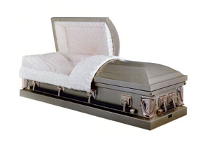 Richmond Light weight steel in golden fawn finish with rosetan crepe and sunburst panel OR copper finish with rosetan crepe OR blue with blue crepe OR silver rose with pink crepe OR silver finish with ivory crepe. Gasketed casket.