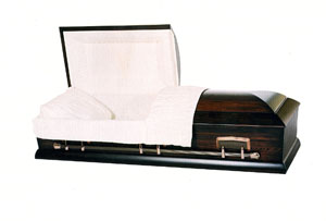 Everett Solid hardwood, poplar satin finish and eggshell crepe interior. Non-gasketed casket.
