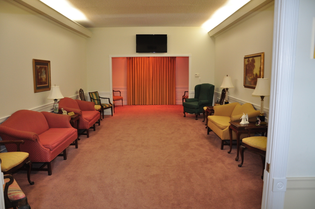 One of our large comfortable Visitation Parlors providing memorial televised video tributes.