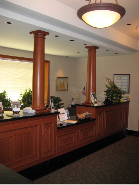 The front desk of the office