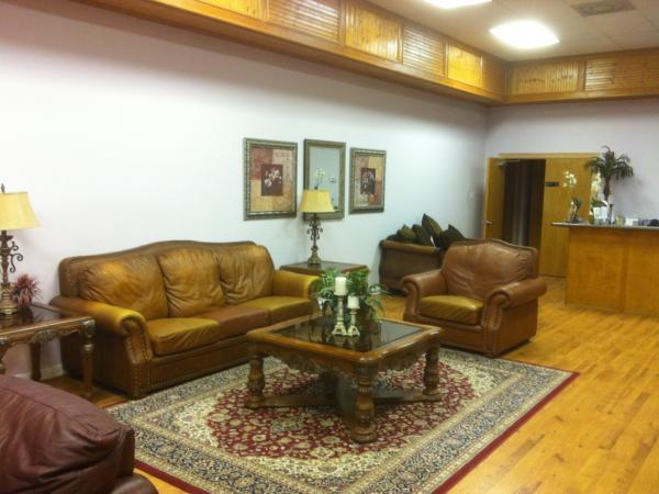One of the sitting areas in the main lobby.