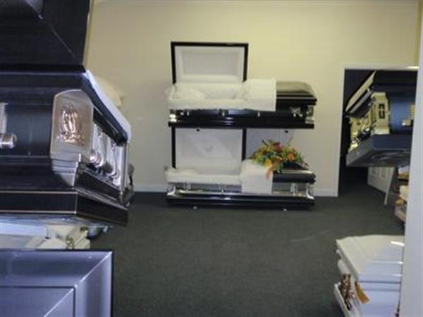 Visit our casket and vault room pre-arangements are available