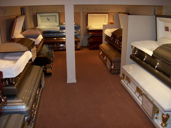 Our selection room features dozens of full sized caskets to choose from.