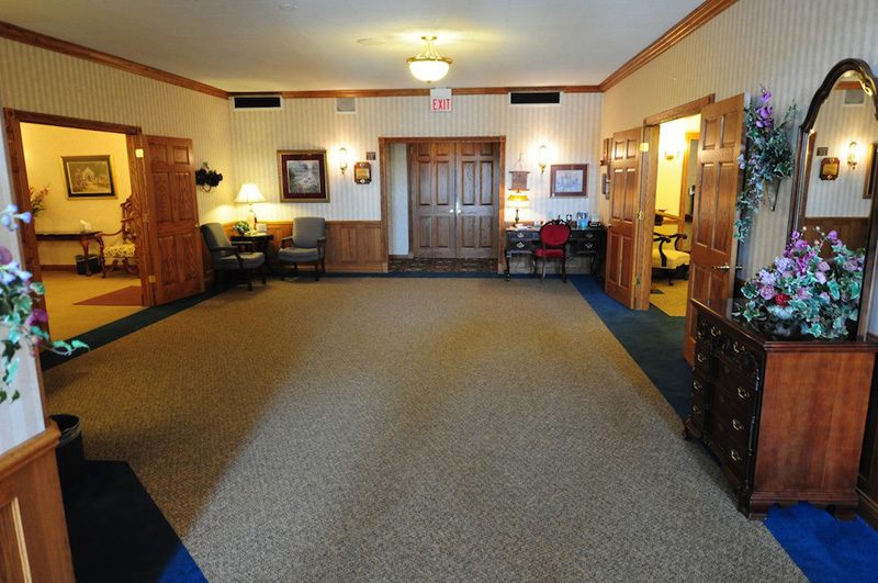The spacious lobby is surrounded by our three chapels.