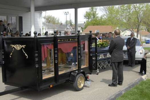 The hearse was custom-built for Schlup-Pucak