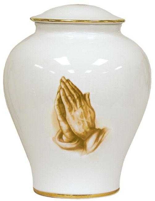 Praying Hands Porcelain Urn #30-C-200