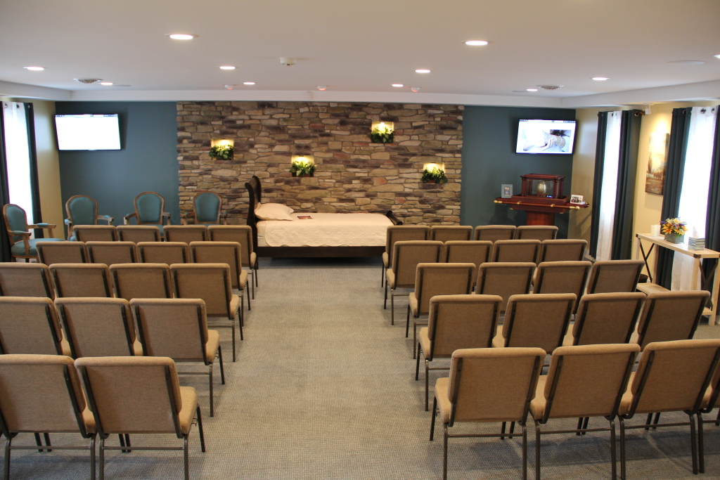 Chapel with reposing bed for private viewing before cremation