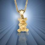 Gold Teddy Bear Pendant